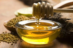 Fresh honey and bee pollen. Alternative therapy royalty free stock photography
