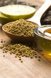 Fresh honey and bee pollen. Alternative therapy stock image