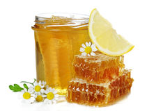 Fresh honey, chamomile and lemon. Stock Image