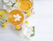 Fresh honey dessert blossom  cherry organic harvest blossoms on gray concrete background royalty free stock photos