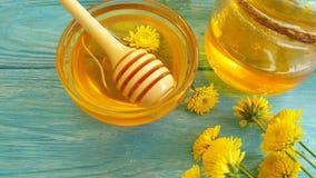 Fresh honey dandelion slow motion breakfast stock video