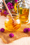 Fresh honey and herbs Stock Photos