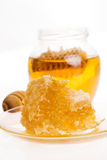 Fresh honey with honeycomb Stock Image