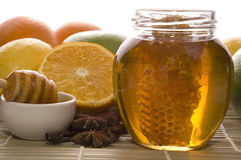 Fresh honey with honeycomb, spices and fruits Stock Image