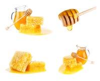 Fresh honey with honeycomb on white. Background Stock Photo