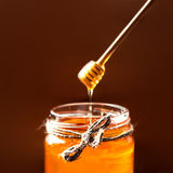 Fresh Honey in jar with honey dipper on vintage wooden backgroun Stock Images