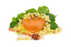 Fresh honey with linden flowers Royalty Free Stock Image