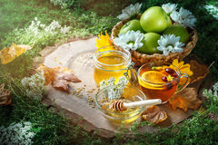Fresh honey, pollen and ripe apples on a wooden table. Selective focus. Royalty Free Stock Photo