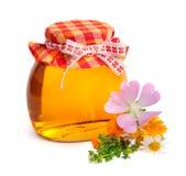 Fresh honey in the pot Stock Photos