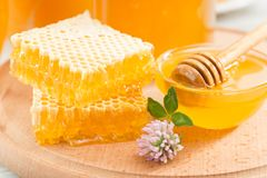 Fresh honeycombs. Flower honey in a bowl. On a wooden board Royalty Free Stock Image