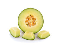 Fresh honeydew Melon on White Background Royalty Free Stock Photo