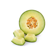 Fresh honeydew Melon on White Background. Fresh honeydew Melon on a White Background Royalty Free Stock Photo