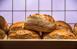 Fresh hot bread on the wooden shelf Royalty Free Stock Images