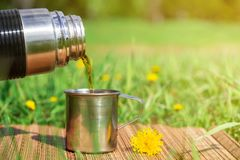 Fresh hot drink in the open air. stock photos