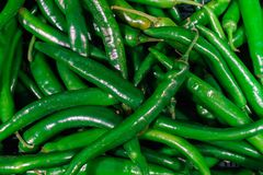 Fresh hot green chili peppers in a supermarket stock image