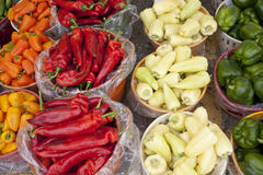 Fresh Hot Pepper. In the basket Stock Photos