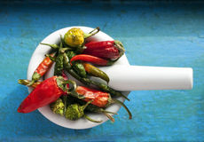 Fresh hot peppers in a bowl Royalty Free Stock Image
