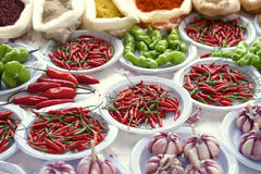 Fresh Hot Peppers Garlic Spices Brazilian Farmers Market Stock Photography