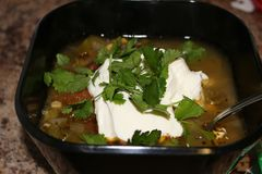 Fresh hot South American Aztec soup with cream. Also garnished with cilantro Royalty Free Stock Images