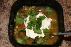 Fresh hot South American Aztec soup with cream. Also garnished with cilantro Stock Images
