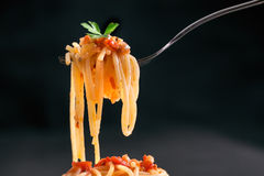 Fresh hot spaghetti wrapped on fork Stock Photography