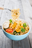 Fresh hot spicy curry instant noodles royalty free stock photos