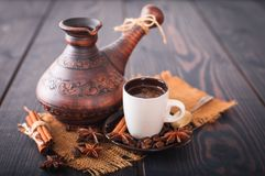 Fresh and hot turkish coffee. Royalty Free Stock Images