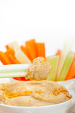 Fresh hummus dip with raw carrot and celery Royalty Free Stock Images