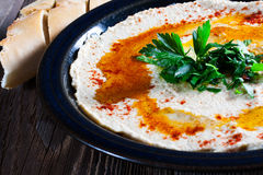 Fresh hummus with parsley. Fresh hummus with parsley and oil Stock Image