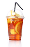 Fresh ice tea in plastic glass royalty free stock image