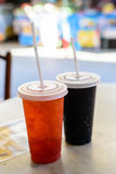 Fresh ice tea in plastic glass Stock Photography