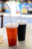 Fresh ice tea in plastic glass Stock Photography