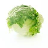 Fresh iceberg lettuce over white background. Crisphead stock photo