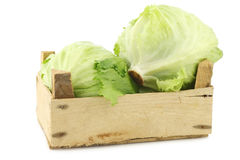Fresh iceberg lettuce in a wooden crate Stock Photo