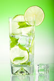 Fresh iced drink with mint & lime Stock Image