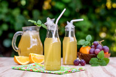 Fresh iced drinks with grapes and orange Royalty Free Stock Photo