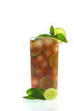 Fresh Iced Tea with Mint and Lime Royalty Free Stock Photo
