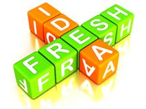 Fresh idea. New or fresh idea concept crossword made with 3d blocks royalty free illustration