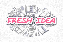 Fresh Idea - Cartoon Magenta Text. Business Concept. Stock Photo
