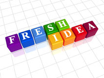 Fresh idea in colour. 3d colour boxes with white letters with text - fresh idea Royalty Free Stock Image