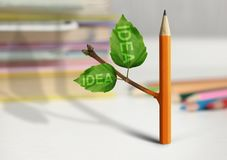 Fresh idea creative concept, pencil with leaves on table. Fresh idea creative concept, pencil with leaves Stock Photo