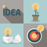 Fresh idea and creative light bulb concept. Vector Stock Photo