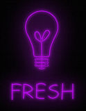 FRESH IDEAS. A neon sign glows light bulb and FRESH Vector Illustration