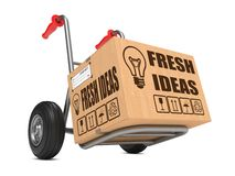 Fresh Ideas - Cardboard Box on Hand Truck. Royalty Free Stock Photo