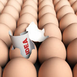 Fresh Ideas Concept. One broken egg with a paper where it is written the word idea plus many entire eggs. Creativity concept Royalty Free Stock Image