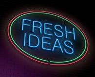 Fresh ideas concept. Illustration depicting an illuminated neon sign with a fresh ideas concept Stock Image