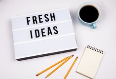 Fresh ideas. Text in lightbox stock images