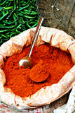 Fresh Indian spices. Fresh spices and peppers at an Indian market Royalty Free Stock Image