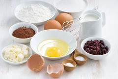 Fresh ingredients for baking on a white table Stock Photo