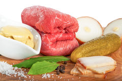 Fresh ingredients for beef roulade Stock Photography